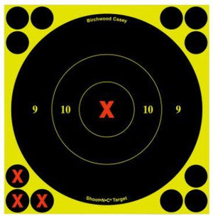 "Birchwood Casey 34560 Shoot-N-C Self-Adhesive Paper 6"" X-Bullseye Yellow Target Paper w/Black Target & Red Accents 60 Per Pack - Pacific Flyway Supplies"