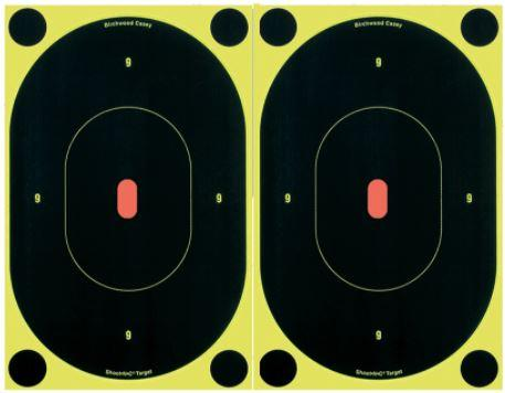 "Birchwood Casey 34710 Shoot-N-C Self-Adhesive Paper 7"" Silhouette Yellow Target Paper w/Black Target & Red Accents 6 Per Pack"