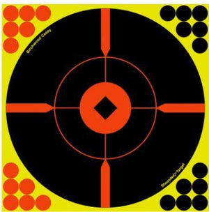 "Birchwood Casey 34806 Shoot-N-C Bull's-Eye BMW Self-Adhesive Paper 8"" Bullseye Yellow Target Paper w/Black Target & Red Accents 6 Per Pack - Pacific Flyway Supplies"