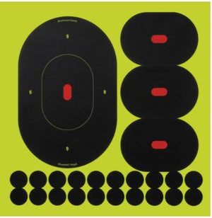 "Birchwood Casey 34905 Shoot-N-C Self-Adhesive Paper 9"" Silhouette Yellow Target Paper w/Black Target & Red Accents 5 Per Pack - Pacific Flyway Supplies"