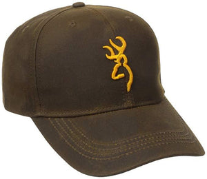 Browning Dura-Wax Solid Color Cap with 3-D Buckmark, Brown Hat - Pacific Flyway Supplies