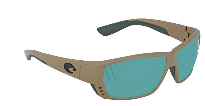 Costa Tuna Alley Sunglasses - Matte Sand w/ Green Lens