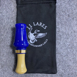 J. J. Lares Magnum Hen Duck Call - Polished Royal Blue Brass Band Polished Tan - Pacific Flyway Supplies