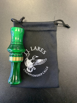 J. J. Lares T-1 Duck Call - Polished Green Pearl Brass Band - Pacific Flyway Supplies