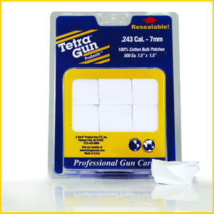 Tetra Gun .243 Cal. - 7mm Cotton Cleaning Patches (500 pack) - Pacific Flyway Supplies