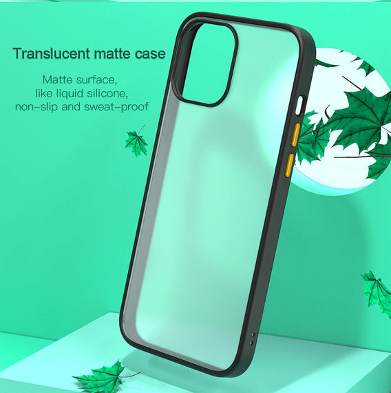 LiKGUS for iPhone 12 (6.1 inch), Shock Proof Smooth Rubberized Crystal Clear Transparent Hard Back Case Cover (Dark Green)