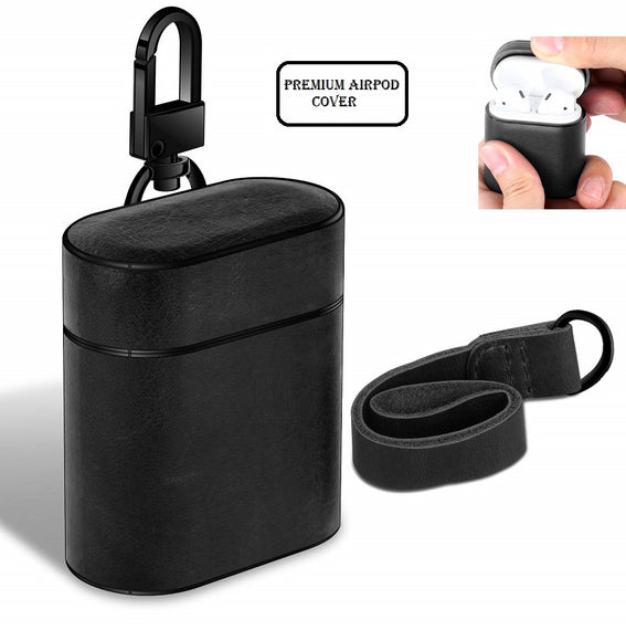 Apple AirPods Case Leather Protective Cover with Metal Clasp and Lanyard (Black)