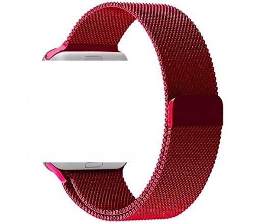 Apple Watch Milanese Loop Band Stainless steel Magnetic Close Strap (42mm 44mm ) Series 4 / 3 / 2 / 1 (Red )