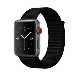 Apple Watch Nylon Loop Band Sport Strap (42mm 44mm Series 4 / 3 / 2 / 1) Dark Black