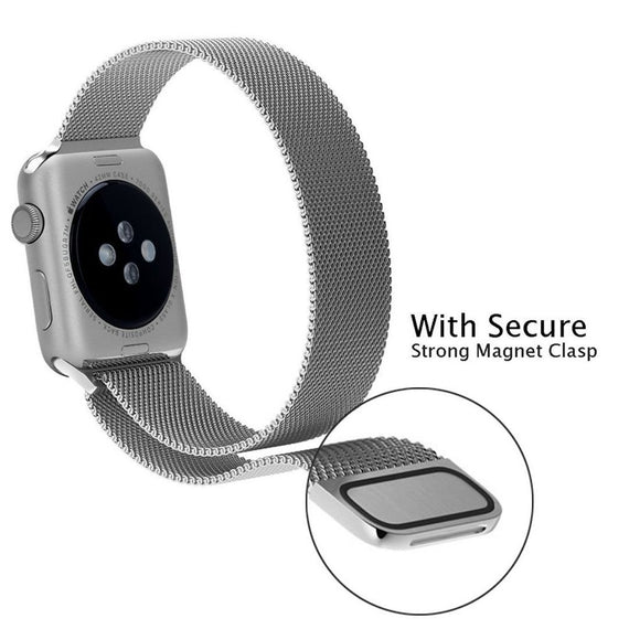 Apple Watch Milanese Loop Band Stainless steel Magnetic Close Strap (42mm 44mm ) Series 4 / 3 / 2 / 1 (Silver )