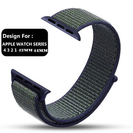 Apple Watch Nylon Loop Band Sport Strap (42mm 44mm Series 4 / 3 / 2 / 1) Green Blue