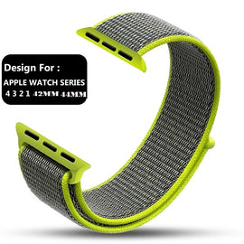 Apple Watch Nylon Loop Band Sport Strap (42mm 44mm Series 4 / 3 / 2 / 1) Flash Green