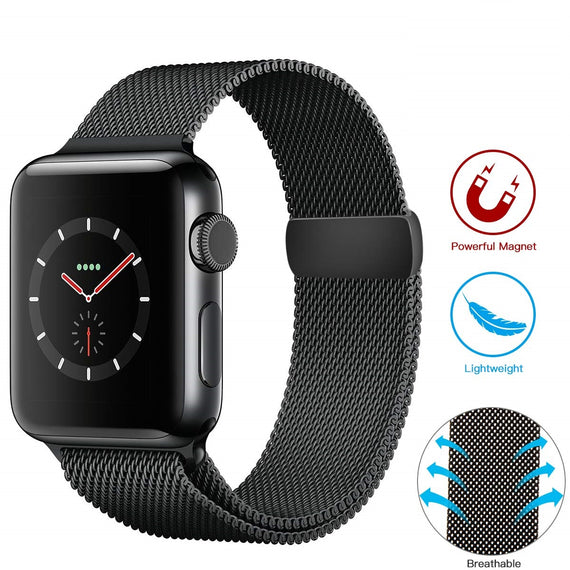 Apple Watch Milanese Loop Band Stainless steel Magnetic Close Strap (42mm 44mm ) Series 4 / 3 / 2 / 1 (Black )