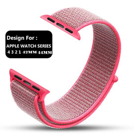 Apple Watch Nylon Loop Band Sport Strap (42mm 44mm Series 4 / 3 / 2 / 1) Hot Pink