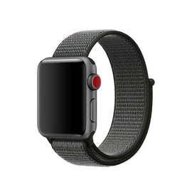 Apple Watch Nylon Loop Band Sport Strap (42mm 44mm Series 4 / 3 / 2 / 1) Grey Black
