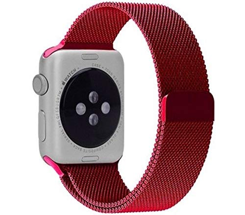 MobiLooks® for Apple Watch Milanese Loop Band Stainless steel Magnetic Close Strap (42mm 44mm ) Series 5 / 4 / 3 / 2 / 1  (Red )