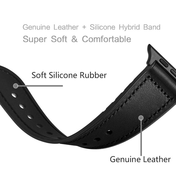 LiKGUS for Apple Watch band Genuine Leather Strap (42mm 44mm Series 5 / 4 / 3 / 2 / 1) Vintage Black