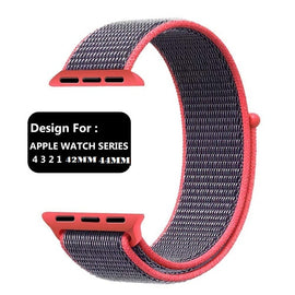 Apple Watch Nylon Loop Band Sport Strap (42mm 44mm Series 4 / 3 / 2 / 1) Dark Pink