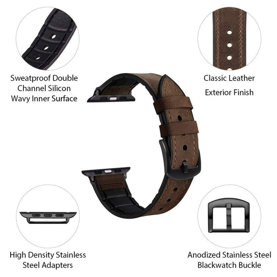 MobiLooks® for Apple Watch band Genuine Leather Strap (42mm 44mm Series 5 / 4 / 3 / 2 / 1) Vintage Dark Brown