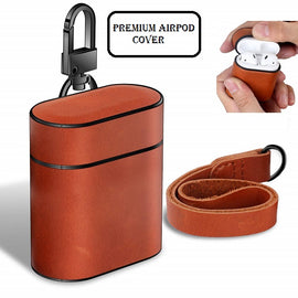 Apple AirPods Case Leather Protective Cover with Metal Clasp and Lanyard (Brown)