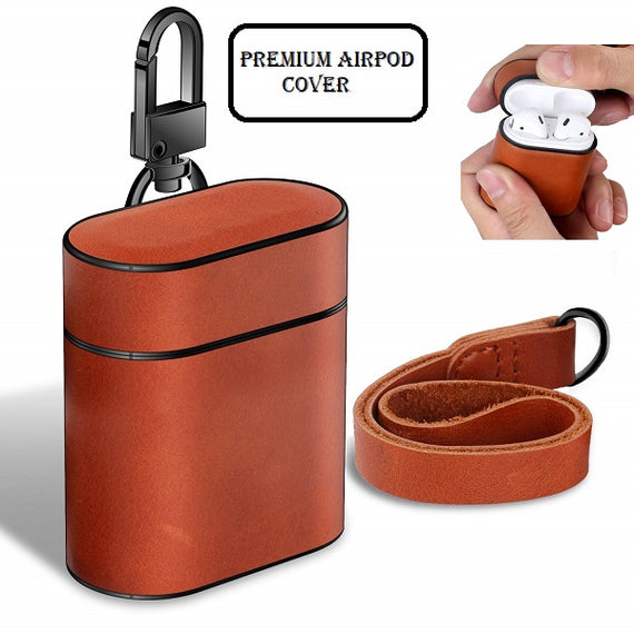 MobiLooks® for Apple AirPods Case Leather Protective Cover with Metal Clasp and Lanyard (Brown)