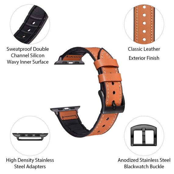 MobiLooks® for Apple Watch band Genuine Leather Strap (42mm 44mm Series 5 / 4 / 3 / 2 / 1) Vintage Brown