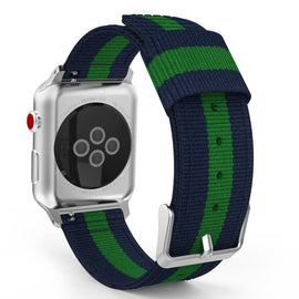 Apple Watch Woven Loop Nylon Band Sport Strap 42mm 44mm Series 4 / 3 / 2 / 1 (Blue & Green)