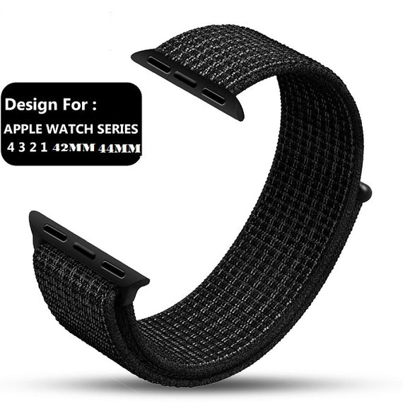 Apple Watch Nylon Loop Band Sport Strap (42mm 44mm Series 4 / 3 / 2 / 1) Black Platinium