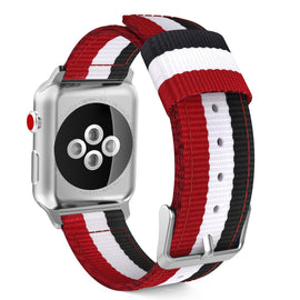 Apple Watch Woven Loop Nylon Band Sport Strap 42mm 44mm Series 4 / 3 / 2 / 1 (Red & White & Black)