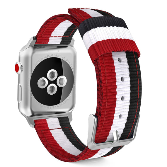MobiLooks® for Apple Watch Moko Loop Nylon Band Sport Strap 42mm 44mm Series 5 / 4 / 3 / 2 / 1 (Red & White & Black)