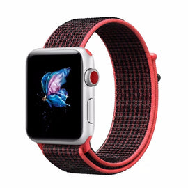 Apple Watch Nylon Loop Band Sport Strap (42mm 44mm Series 4 / 3 / 2 / 1) Deep Black Red