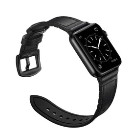 MobiLooks® for Apple Watch band Genuine Leather Strap (42mm 44mm Series 5 / 4 / 3 / 2 / 1) Vintage Black