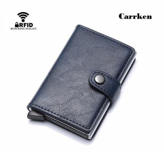 CarrKen RFID Blocking Business Credit / Debit Card Holder Automatic Pop Up Aluminum Leather Wallet (FL30)