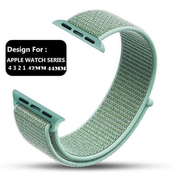 MobiLooks® for Apple Watch Nylon Loop Band Sport Strap (42mm 44mm Series 5 / 4 / 3 / 2 / 1) Merine Green