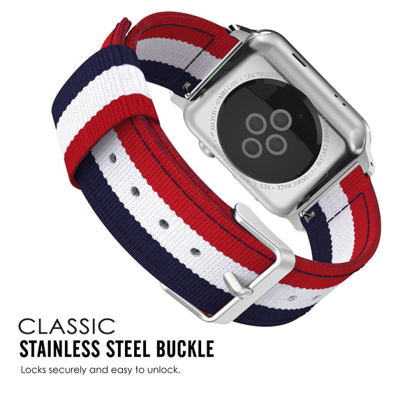 Apple Watch Woven Loop Nylon Band Sport Strap 42mm 44mm Series 4 / 3 / 2 / 1 (Blue & White & Red BROAD)