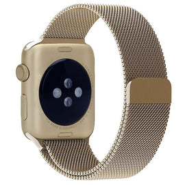 MobiLooks® for Apple Watch Milanese Loop Band Stainless steel Magnetic Close Strap (42mm 44mm ) Series 5 / 4 / 3 / 2 / 1  (Gold )