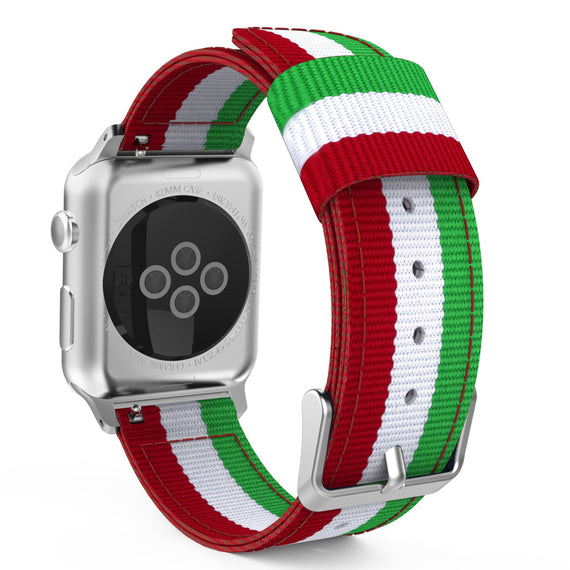 Apple Watch Woven Loop Nylon Band Sport Strap 42mm 44mm Series 4 / 3 / 2 / 1 (Green & White & Red)