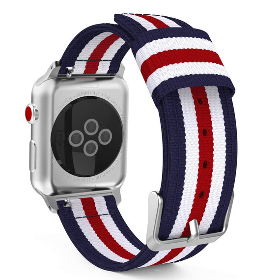 MobiLooks® for Apple Watch Moko Loop Nylon Band Sport Strap 42mm 44mm Series 5 / 4 / 3 / 2 / 1 (Blue & White & Red)