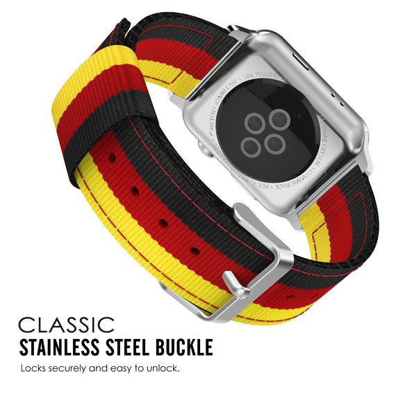 MobiLooks® for Apple Watch Moko Loop Nylon Band Sport Strap 42mm 44mm Series 5 / 4 / 3 / 2 / 1 (Yellow & Red & Black)