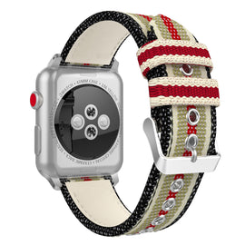 Apple Watch Woven Loop Nylon Band Sport Strap 42mm 44mm Series 4 / 3 / 2 / 1 (Black & White & Brown & Red)