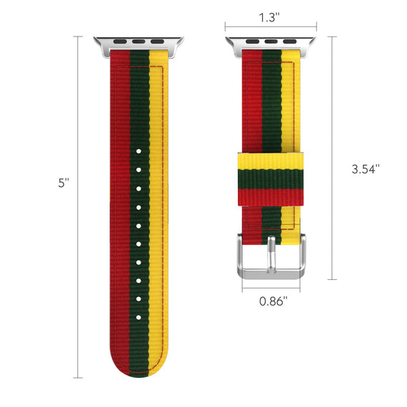 MobiLooks® for Apple Watch Moko Loop Nylon Band Sport Strap 42mm 44mm Series 5 / 4 / 3 / 2 / 1 (Yellow & Army Green & Red)