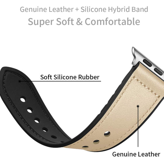 MobiLooks® for Apple Watch band Genuine Leather Strap (42mm 44mm Series 5 / 4 / 3 / 2 / 1) Vintage Grey
