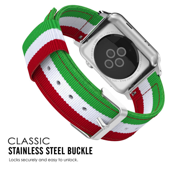 LiKGUS for Apple Watch Moko Loop Nylon Band Sport Strap 42mm 44mm Series 5 / 4 / 3 / 2 / 1 (Green & White & Red)