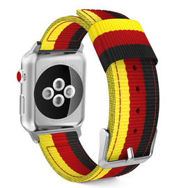 Apple Watch Woven Loop Nylon Band Sport Strap 42mm 44mm Series 4 / 3 / 2 / 1 (Yellow & Red & Black)
