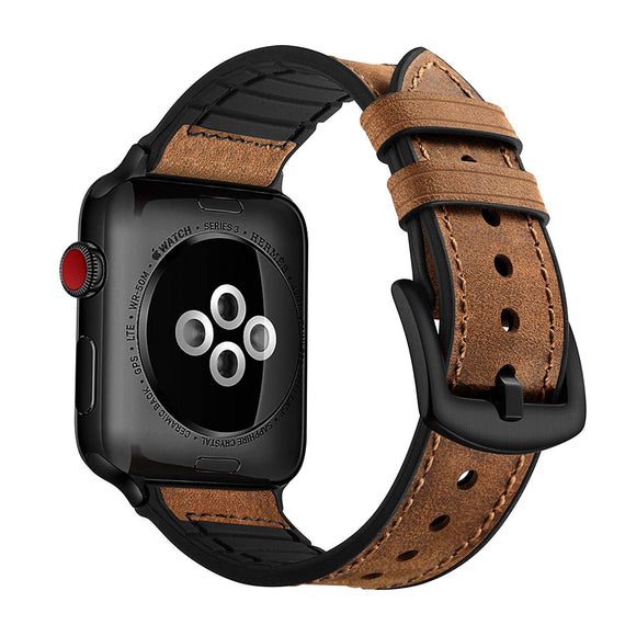 LiKGUS for Apple Watch band Genuine Leather Strap (42mm 44mm Series 5 / 4 / 3 / 2 / 1) Vintage Dark Brown