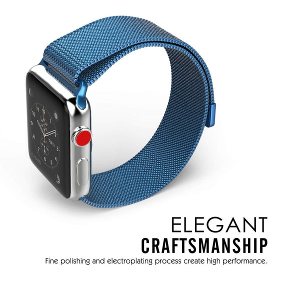 MobiLooks® for Apple Watch Milanese Loop Band Stainless steel Magnetic Close Strap (42mm 44mm ) Series 5 / 4 / 3 / 2 / 1  (Blue )