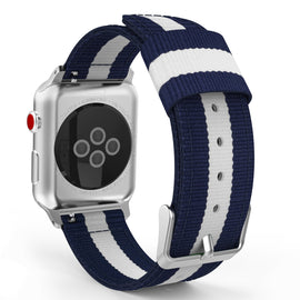 Apple Watch Woven Loop Nylon Band Sport Strap 42mm 44mm Series 4 / 3 / 2 / 1 (Blue & White)