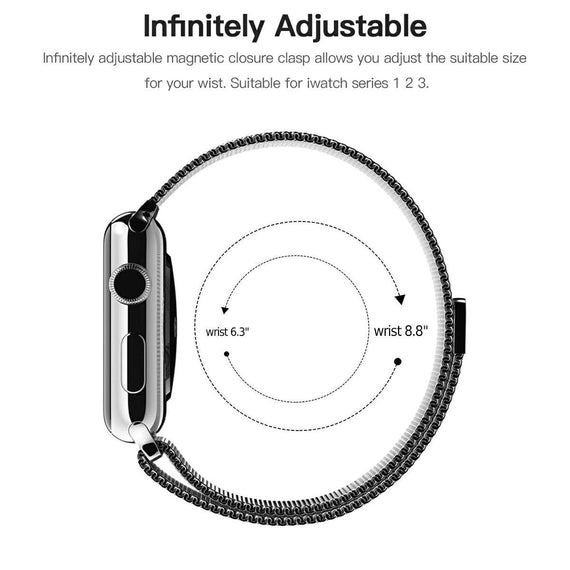 MobiLooks® for Apple Watch Milanese Loop Band Stainless steel Magnetic Close Strap (42mm 44mm ) Series 5 / 4 / 3 / 2 / 1 (Black )