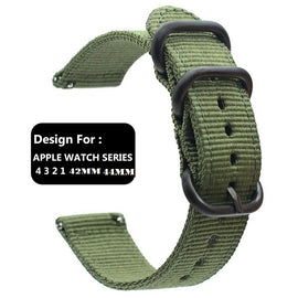 Apple Watch Band Women Men Nylon NATO Matte Buckle Adapters Sport Series (4 3 2 1) (42mm , 44mm) Army Green