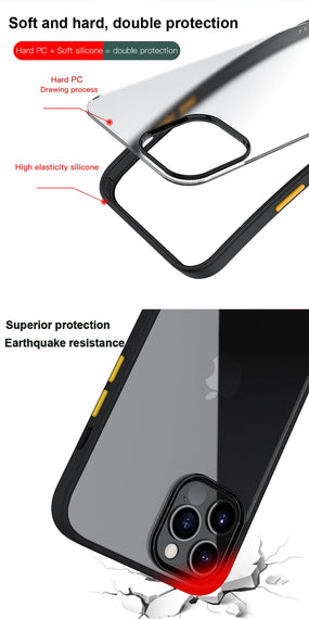 LiKGUS for iPhone 12 Pro Max (6.7 inch), Shock Proof Smooth Rubberized Crystal Clear Transparent Hard Back Case Cover (BLACK)